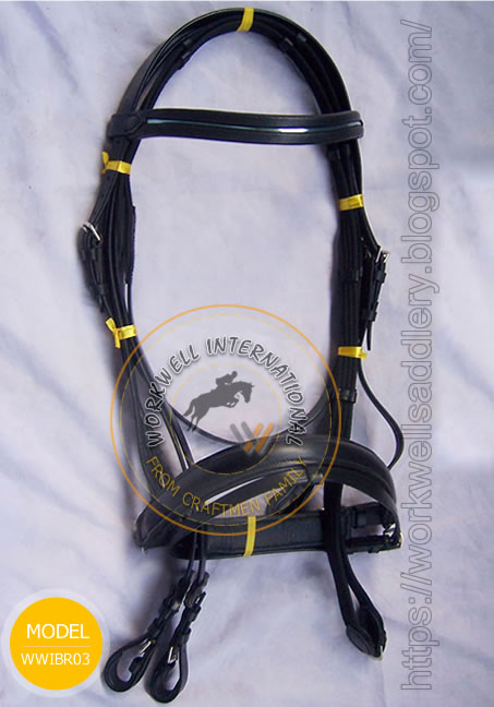Dressage Bridle with fancy silver line Browband - WWIBR-02
