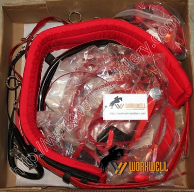 biothane quick hitch synthetic trotting harness in red